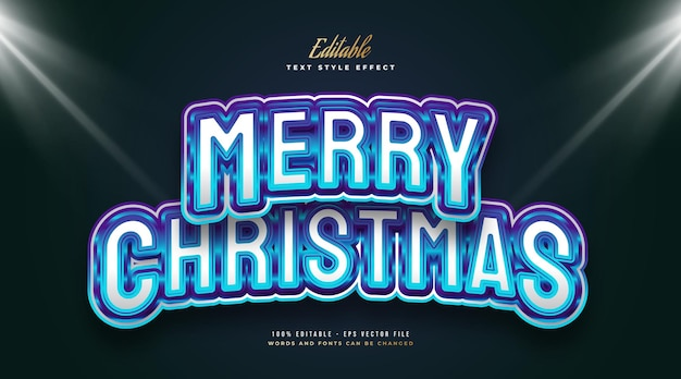Editable merry christmas text in modern white and blue style with shiny effect. editable text style effect