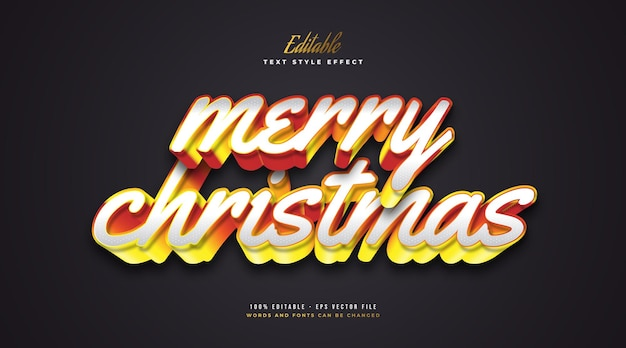 Editable merry christmas text in white and orange with 3d effect. editable text style effect