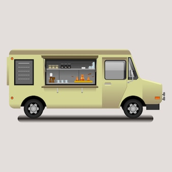 Editable mobile turkish coffee shop vector illustration