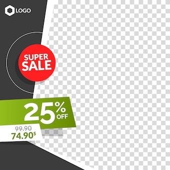 Editable modern creative sale banner with empty abstract background