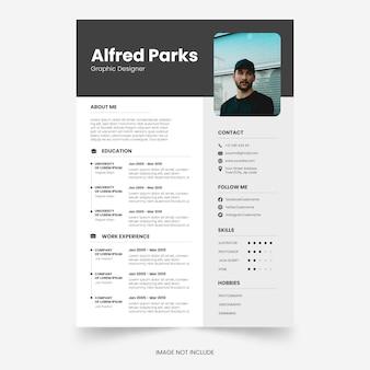 Editable modern resume or minimalist cv template design