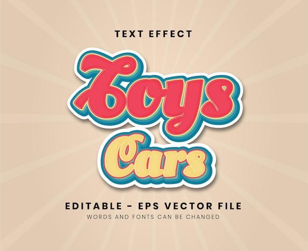 Editable modern toys cars text effect