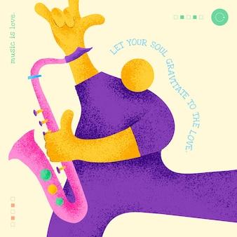 感動的な音楽の引用ソーシャルメディアの投稿と編集可能なミュージシャンテンプレートフラットデザイン