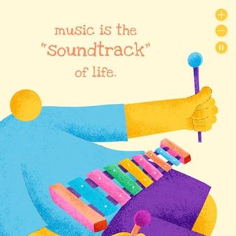 영감을 주는 음악 인용 소셜 미디어 게시물이 포함된 편집 가능한 음악가 템플릿 벡터 평면 디자인