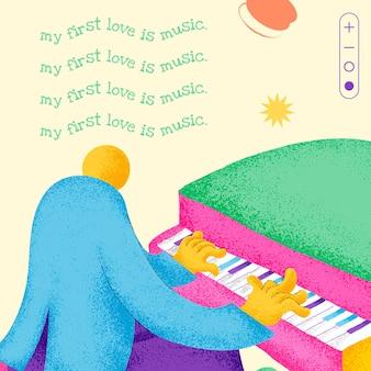 感動的な音楽の引用ソーシャルメディアの投稿を含む編集可能なミュージシャンテンプレート