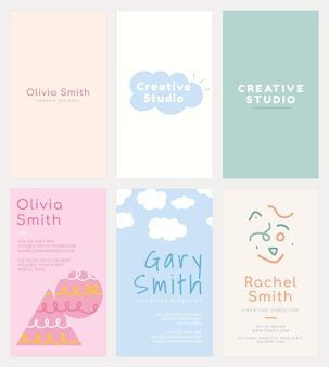 Editable name card template  set in soft pastel color patterns