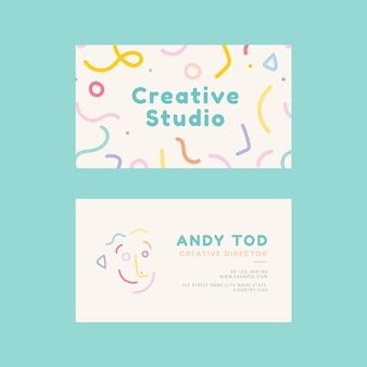 Editable name card template vector in memphis style pattern