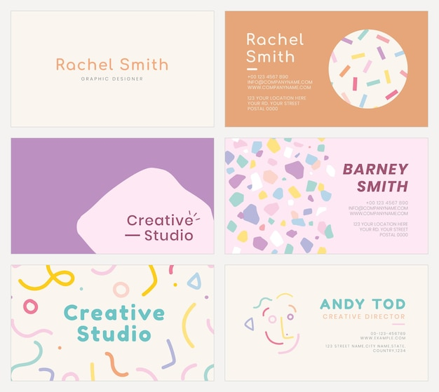 Editable name card template vector set in soft pastel color patterns