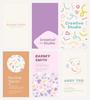 Editable name card template vector set in various soft pastel patterns