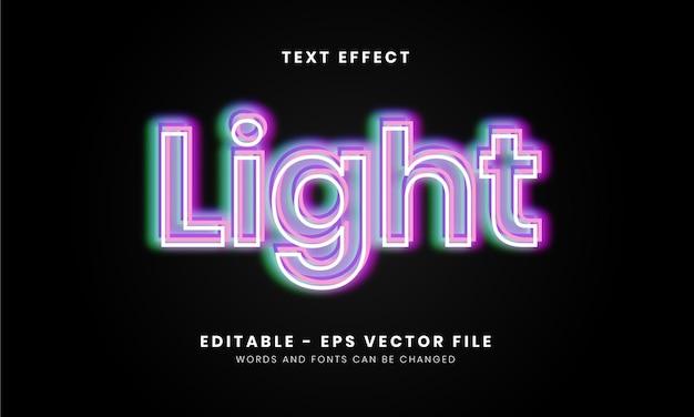 Editable neon light text effect