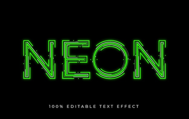 Editable neon text effect