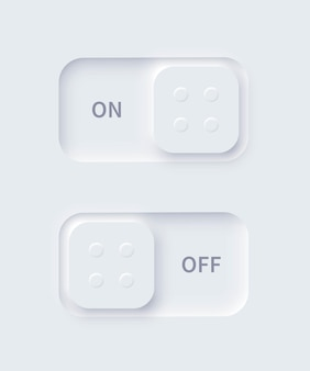 Editable neumorphism on and off square shape power buttons set slider for website mobile menu navigation and application