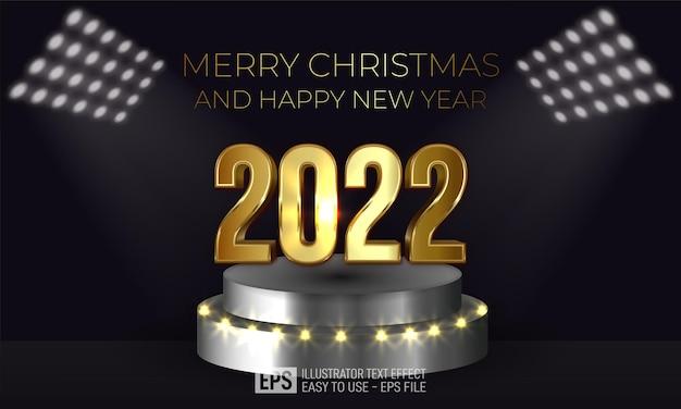 暗い背景で表彰台に編集可能な番号2022新年あけましておめでとうございます