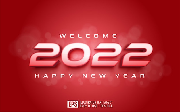 Editable number 2022 happy new year on red background