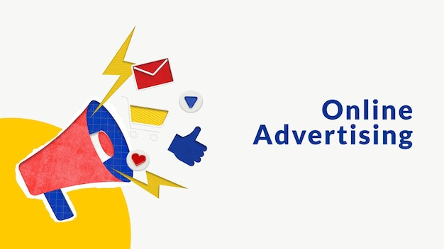 Editable online advertising template with megaphone for e-commerce business