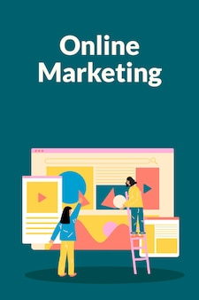 Editable online marketing template vector in flat design