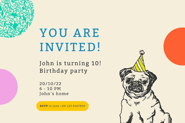 引用付きの編集可能なパーティーバナーテンプレート、あなたは招待されています