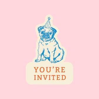 Editable party template for social media post with quote, you are invited