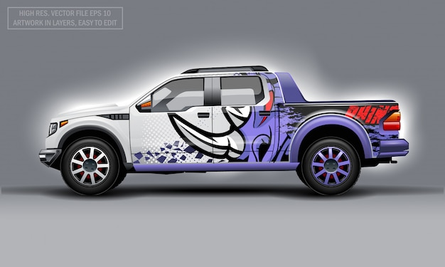Editable pickup truck with abstract rhino decal