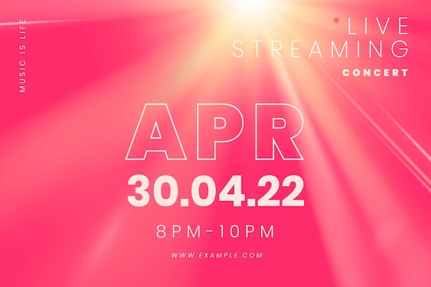 Editable pink banner template vector with light effect for live streaming concert in the new normal