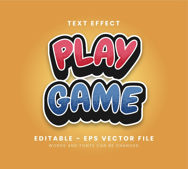 Editable play game text effect
