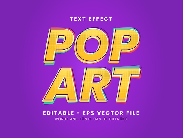 Editable pop art color full text effect