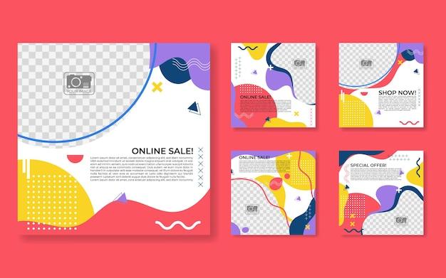 デジタルマーケティングのための編集可能な投稿テンプレートソーシャルメディアバナー。プロモーションブランドファッション。ストーリー。ストリーミング。ベクトルイラスト