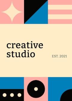 편집 가능한 포스터 템플릿 바우하우스 영감을 받은 플랫 크리에이티브 스튜디오 텍스트