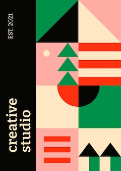 Editable poster template  bauhaus inspired flat  creative studio text