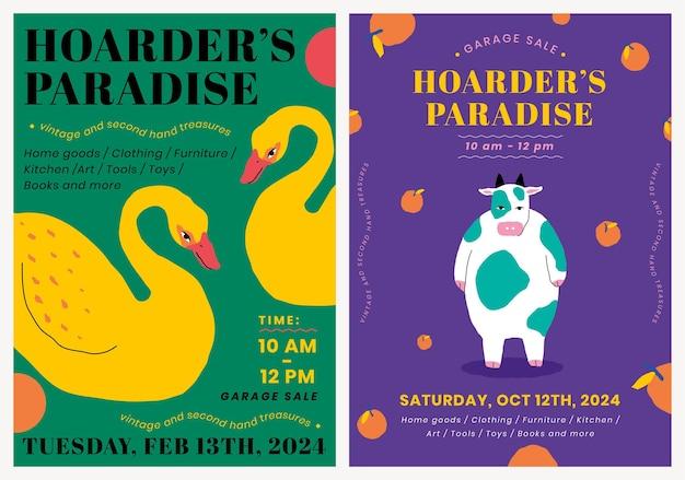 귀여운 동물 일러스트 세트로 차고 판매를 위한 편집 가능한 포스터 템플릿 벡터
