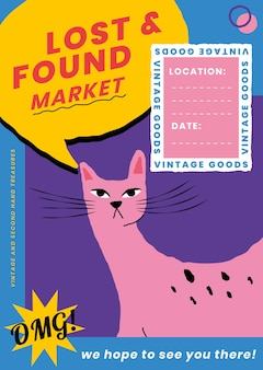かわいい動物のイラストで遺失物取扱所の編集可能なポスターテンプレートベクトル