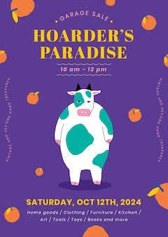 Editable poster template vector for garage sale with cute animal illustration