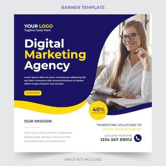 Editable professional digital business agency marketing social media post and banner template design