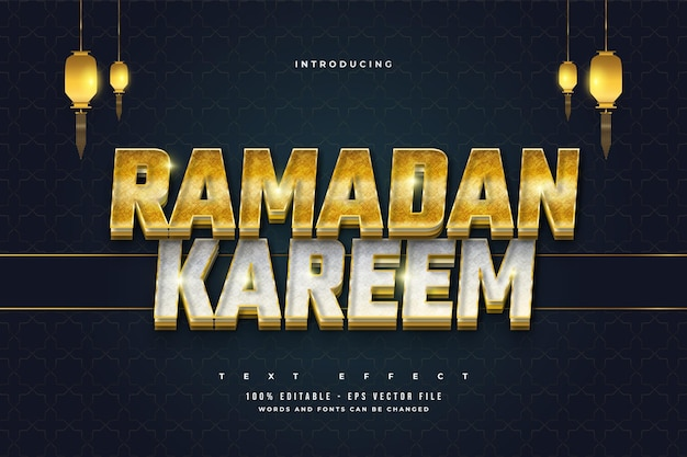 Editable ramadan text in gold and silver style with texture effect