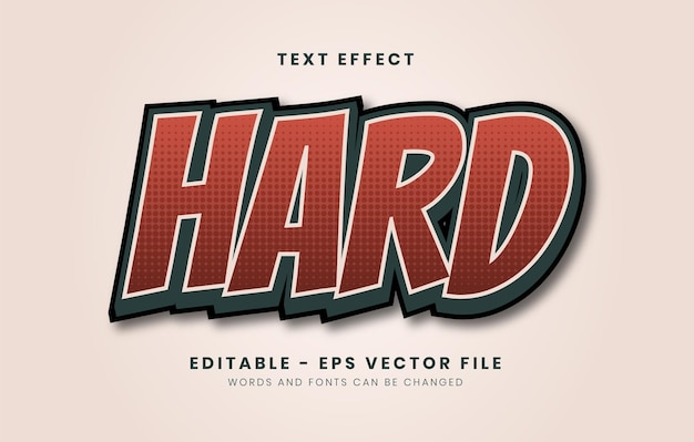 Editable red hard text effect