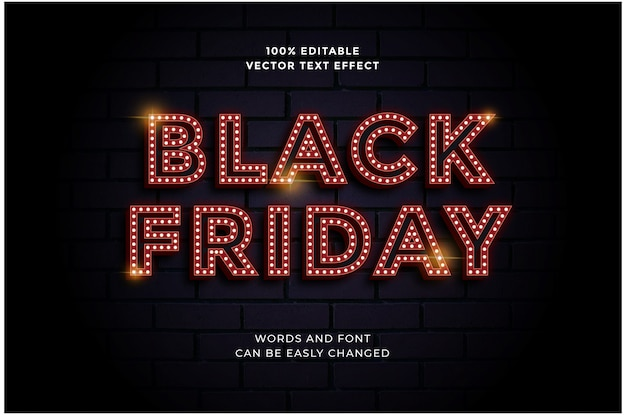 Editable red light bulb text effect for black friday sale banner template