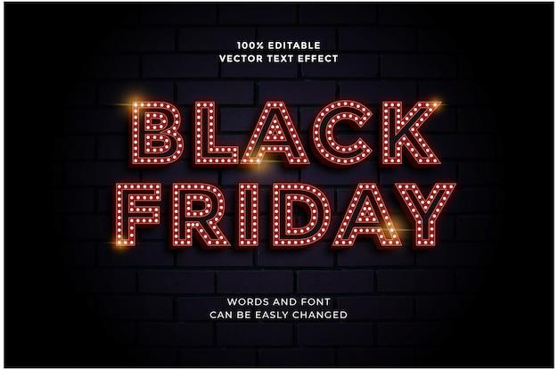 블랙 프라이데이 판매 배너 템플릿에 대한 편집 가능한 빨간 전구 텍스트 효과