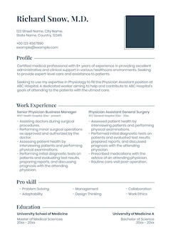 Editable resume template in clean design with photo