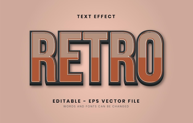 Editable retro style text effect