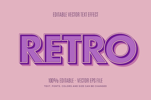 Editable retro text effect easy to change or edit