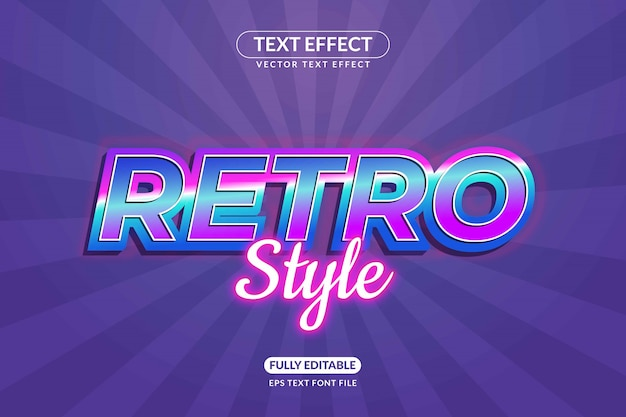 Editable retro text effect style
