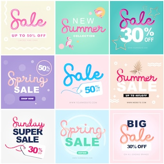 Editable sale banner 3d