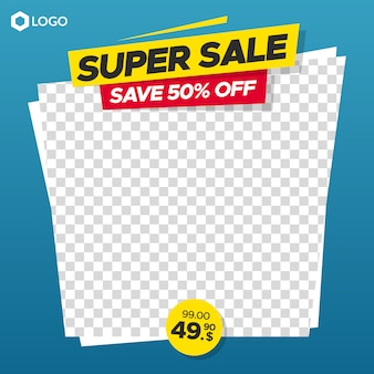 Editable sale banner with empty abstract frame for instagram and web