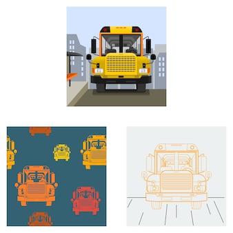 Editable school bus on road illustration with cityscape background