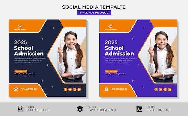 Editable school education admission instagram social media post template