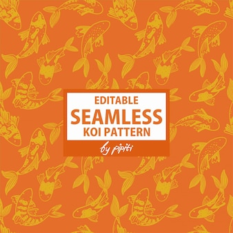 Editable seamless koi pattern