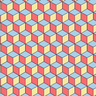 Editable seamless pattern made of pink, blue and yellow squares