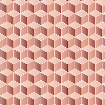 Editable seamless pattern made of rose golden squares