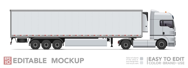 Editable semi truck . realistick tractor & refrigerated trailer on white background.