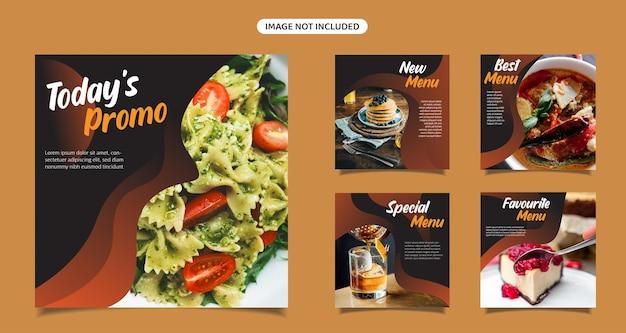 Редактируемый набор шаблонов квадратных баннеров еда и кулинария instagram шаблон продвижения публикации в социальных сетях